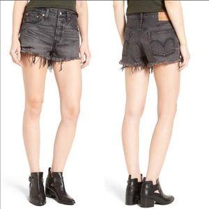 Levi's 501 Slashed Black Cutoff Distressed Shorts